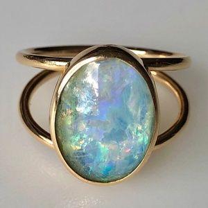 Vintage 14k Australian 5 ct Black Opal Ring 5.8g